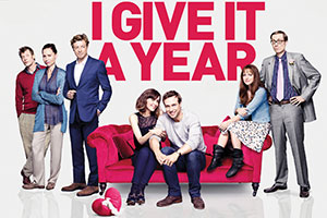 I Give It A Year. Image shows from L to R: Hugh (Jason Flemyng), Naomi (Minnie Driver), Guy (Simon Baker), Nat (Rose Byrne), Josh (Rafe Spall), Chloe (Anna Faris), Danny (Stephen Merchant). Copyright: Working Title Films.