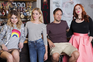 I Live With Models. Image shows from L to R: Molly (Kamilla Alnes), Scarlet (Brianne Howey), Tommy (David Hoffman), Jess (Lydia Rose Bewley). Copyright: Roughcut Television.