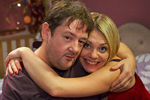 Ideal. Image shows from L to R: Moz (Johnny Vegas), Nicki (Nicola Reynolds). Copyright: Baby Cow Productions.
