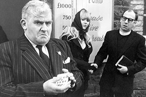 I'll Fly You For A Quid. Image shows from L to R: Evan Owen (Ronnie Barker), April Owen (Beth Morris), Mr. Simmonds (Emrys James). Copyright: BBC.
