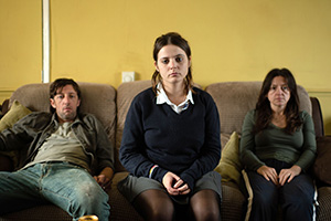 In My Skin. Image shows from L to R: Dilwyn (Rhodri Meilir), Bethan (Gabrielle Creevy), Katrina (Jo Hartley).