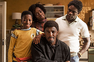 In The Long Run. Image shows from L to R: Kobna (Sammy Kamara), Agnes (Madeline Appiah), Walter (Idris Elba), Valentine (Jimmy Akingbola). Copyright: Sky.