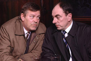 In The Red. Image shows from L to R: George Cragge (Warren Clarke), DCI Frank Jeferson (Alun Armstrong). Copyright: BBC.
