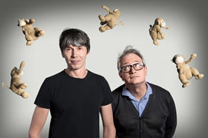 The Infinite Monkey Cage. Image shows from L to R: Brian Cox, Robin Ince. Copyright: BBC.