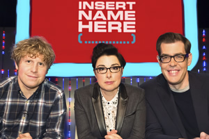 Insert Name Here. Image shows from L to R: Josh Widdicombe, Sue Perkins, Richard Osman. Copyright: 12 Yard Productions / Black Dog Television.