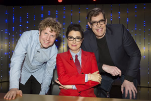 Insert Name Here. Image shows from L to R: Josh Widdicombe, Sue Perkins, Richard Osman.