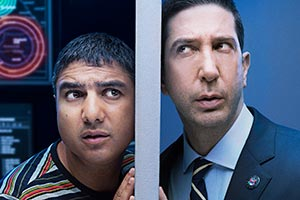Intelligence. Image shows from L to R: Joseph Harries (Nick Mohammed), Jerry Bernstein (David Schwimmer).