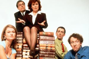 Is It Legal?. Image shows from L to R: Alison (Kate Isitt), Bob Birch (Patrick Barlow), Stella Phelps (Imelda Staunton), Darren (Matthew Ashforde), Colin Lotus (Richard Lumsden). Copyright: Hartswood Films Ltd.