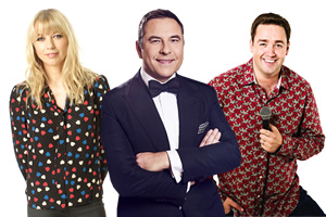 Image shows from L to R: Sara Cox, David Walliams, Jason Manford.