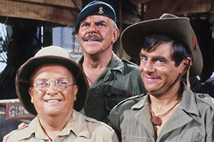 It Ain't Half Hot Mum. Image shows from L to R: Gunner 'Lofty' Sugden (Don Estelle), BSM Geoffrey 'Shut Up' Williams (Windsor Davies), Bombardier 'Gloria' Beaumont (Melvyn Hayes). Copyright: BBC.