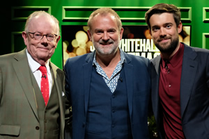 Jack Whitehall: Christmas With My Father. Image shows from L to R: Michael Whitehall, Hugh Bonneville, Jack Whitehall. Copyright: Tiger Aspect Productions.