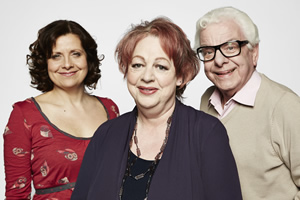 Jo Brand's Great Wall Of Comedy. Image shows from L to R: Rebecca Front, Jo Brand, Barry Cryer. Copyright: STV Productions.