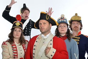 John Finnemore's Souvenir Programme. Image shows from L to R: Margaret Cabourn-Smith, Lawry Lewin, John Finnemore, Carrie Quinlan, Simon Kane. Copyright: BBC.