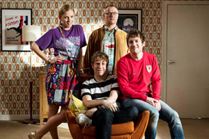 Josh. Image shows from L to R: Kate (Beattie Edmondson), Josh (Josh Widdicombe), Geoff (Jack Dee), Owen (Elis James). Copyright: BBC.