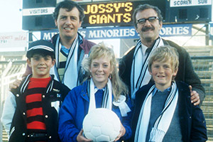 Jossy's Giants. Image shows from L to R: Jim Barclay, Christopher Burgess, Julie Foy, Paul Kirkbright. Copyright: BBC.