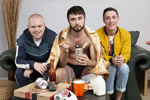 Joytown. Image shows from L to R: Basher (Mark Dallas), Chrissy (Rian Gordon), O'Connor (Joe Proctor). Copyright: The Comedy Unit.