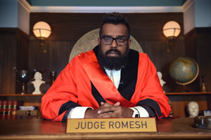 Judge Romesh. Romesh Ranganathan. Copyright: Hungry Bear Media.