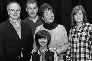 Just Grand. Image shows from L to R: Frank (Jason Watkins), Thommo (Phil Mealey), Gloria (Denise Welch), Marcus (Ben Greaves-Neal), Sandra (Siobhan Finneran). Copyright: BBC.