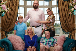 King Gary. Image shows from L to R: Teddy King (Riley Burgin), Terri King (Laura Checkley), Gary King (Tom Davis), Denise King (Camille Coduri), Big Gary King (Simon Day). Copyright: Shiny Button Productions.