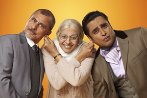 The Kumars. Image shows from L to R: Ashwin (Vincent Ebrahim), Ummi (Meera Syal), Sanjeev (Sanjeev Bhaskar).