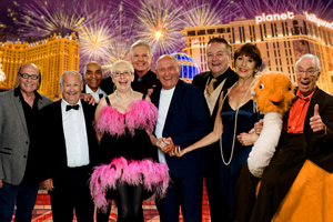 Last Laugh In Vegas. Image shows from L to R: Mick Miller, Bobby Ball, Kenny Lynch, Su Pollard, Jess Conrad, Tommy Cannon, Bobby Crush, Anita Harris, Bernie Clifton. Copyright: Shiver Productions.
