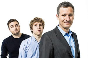 The Last Leg. Image shows from L to R: Alex Brooker, Josh Widdicombe, Adam Hills. Copyright: Open Mike Productions.