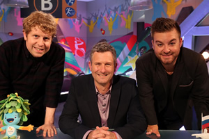 The Last Leg. Image shows from L to R: Josh Widdicombe, Adam Hills, Alex Brooker. Copyright: Open Mike Productions.