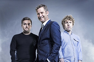 The Last Leg. Image shows from L to R: Alex Brooker, Adam Hills, Josh Widdicombe.
