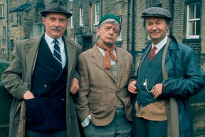 Last Of The Summer Wine. Image shows from L to R: Cyril Blamire (Michael Bates), William 'Compo' Simmonite (Bill Owen), Norman Clegg (Peter Sallis). Copyright: BBC.