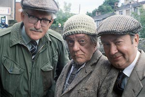 Last Of The Summer Wine. Image shows from L to R: Walter C. 'Foggy' Dewhurst (Brian Wilde), William 'Compo' Simmonite (Bill Owen), Norman Clegg (Peter Sallis). Copyright: BBC.