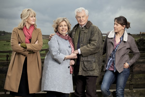 Last Tango In Halifax. Image shows from L to R: Caroline (Sarah Lancashire), Celia (Anne Reid), Alan (Derek Jacobi), Gillian (Nicola Walker). Copyright: Red Production Company.