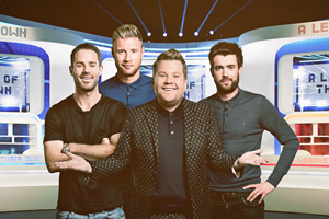 A League Of Their Own. Image shows from L to R: Jamie Redknapp, Andrew Flintoff, James Corden, Jack Whitehall. Copyright: CPL Productions.