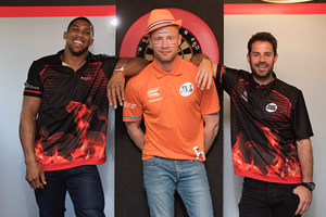 Anthony Joshua, Andrew Flintoff and Jamie Redknapp at the darts. Copyright: CPL Productions.