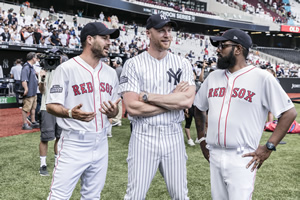 A League Of Their Own. Image shows from L to R: Jamie Redknapp, Andrew Flintoff, Romesh Ranganathan. Copyright: CPL Productions.