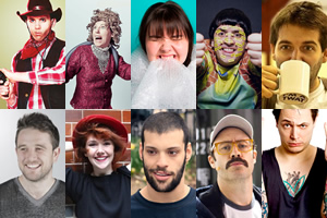 Image shows from L to R: Mat Ewins, James Loveridge, Marny Godden, Elf Lyons, Sofie Hagen, Tim Renkow, Spencer Jones, Sam Simmons, Adam Larter, Jim Smallman.