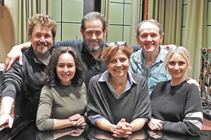 Lena Marsh, Live And Shticking!. Image shows from L to R: Michael Ball, Samantha Spiro, Jeremy Front, Lena Marsh (Rebecca Front), Kevin Whately, Jenny Bede. Copyright: BBC.