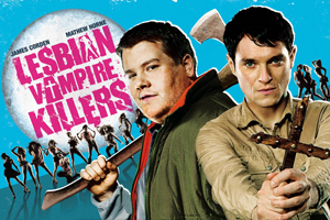 Lesbian Vampire Killers. Image shows from L to R: Fletch (James Corden), Jimmy (Mathew Horne). Copyright: Velvet Bite.
