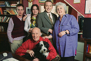 Life As We Know It. Image shows from L to R: Nick Cameron (Paul Chequer), Sarah Cameron (Sarah Coomes), Alex Cameron (Richard Wilson), Harry Cameron (Barnaby Kay), Lizzie Cameron (Stephanie Cole). Copyright: BBC.
