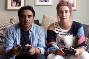 Limbo. Image shows from L to R: Paul (Sanjeev Bhaskar), Neck (Bekka Bowling). Copyright: Hat Trick Productions.