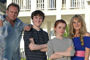 Living The Dream. Image shows from L to R: Mal Pemberton (Philip Glenister), Freddie Pemberton (Brenock O'Connor), Tina Pemberton (Rosie Day), Jen Pemberton (Lesley Sharp).