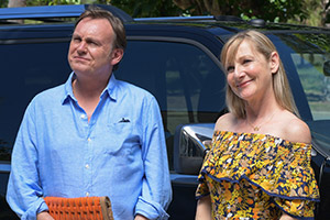 Living The Dream. Image shows from L to R: Mal Pemberton (Philip Glenister), Jen Pemberton (Lesley Sharp). Copyright: Big Talk Productions.