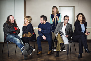 Love In Recovery. Image shows from L to R: Danno (Paul Kaye), Julie (Sue Johnston), Andy (Eddie Marsan), Marion (Julia Deakin), Simon (John Hannah), Fiona (Rebecca Front). Copyright: Lucky Giant.