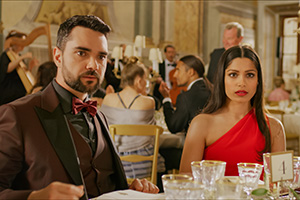 Love Wedding Repeat. Image shows from L to R: Chaz (Allan Mustafa), Amanda (Freida Pinto).
