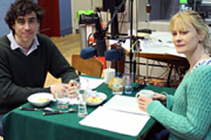 Lunch. Image shows from L to R: Bill (Stephen Mangan), Bella (Claire Skinner). Copyright: BBC.