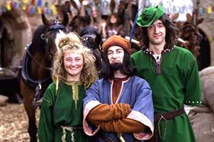 Maid Marian And Her Merry Men. Image shows from L to R: Maid Marian (Kate Lonergan), The Sheriff of Nottingham (Tony Robinson), Robin (Adam Morris). Copyright: BBC.