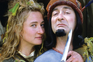 Maid Marian And Her Merry Men. Image shows from L to R: Maid Marian (Kate Lonergan), The Sheriff of Nottingham (Tony Robinson). Copyright: BBC.
