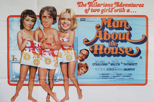 Man About The House. Image shows from L to R: Chrissy Plummer (Paula Wilcox), Robin Tripp (Richard O'Sullivan), Jo (Sally Thomsett). Copyright: Hammer Film Productions.