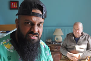 Man Like Mobeen. Image shows from L to R: Mobeen (Guz Khan), Cyril (Richard Syms). Copyright: Cave Bear Productions.