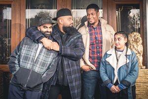 Man Like Mobeen. Image shows from L to R: Eight (Tez Ilyas), Mobeen (Guz Khan), Nate (Tolulope Ogunmefun), Aks (Duaa Karim).