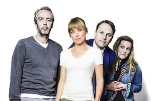 Marley's Ghosts. Image shows from L to R: Adam Wise (John Hannah), Marley Wise (Sarah Alexander), Michael Walton (Nicholas Burns), Vicar (Jo Joyner). Copyright: John Stanley Productions.